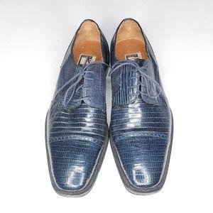 David Eden Genuine Lizard Oxfords Blue Shoes